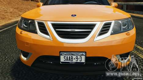 Saab 9-3 Turbo X 2008 para GTA 4 vista desde abajo