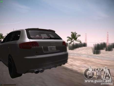 Audi RS3 2011 para GTA San Andreas vista posterior izquierda