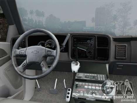 Chevrolet Suburban SFFD para GTA San Andreas interior