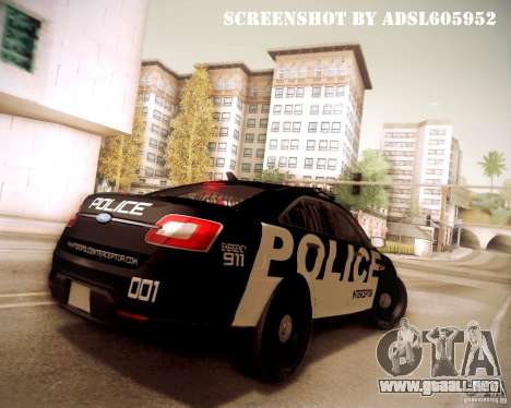 Ford Taurus Police Interceptor 2011 para vista lateral GTA San Andreas