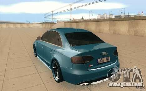 Audi S4 2009 para GTA San Andreas vista posterior izquierda
