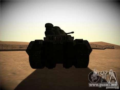 Tanque desde el juego TimeShift para la visión correcta GTA San Andreas