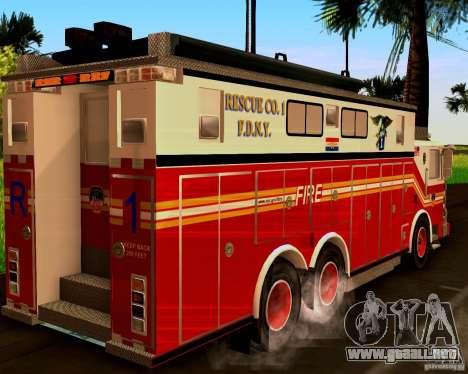 Pumper Firetruck Pierce F.D.N.Y para GTA San Andreas left