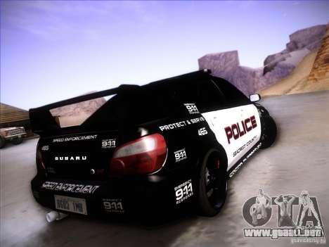 Subaru Impreza WRX STI Police Speed Enforcement para la vista superior GTA San Andreas