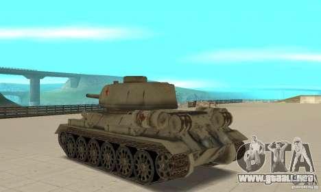 Tanque T-34-85 para GTA San Andreas vista posterior izquierda