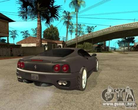 Ferrari 360 modena TUNEABLE para GTA San Andreas vista posterior izquierda