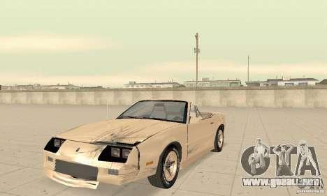Chevrolet Camaro RS 1991 Convertible para la vista superior GTA San Andreas