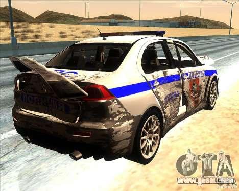 Mitsubishi Lancer Evolution X PPP policía para el motor de GTA San Andreas