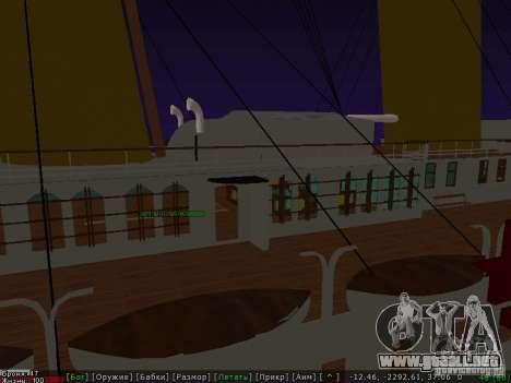 HMHS Britannic para GTA San Andreas vista hacia atrás