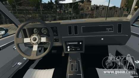 Buick GNX 1987 para GTA 4 vista hacia atrás