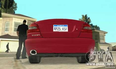 Volvo C70 1999 para GTA San Andreas vista hacia atrás