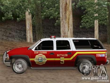 Chevrolet Suburban SFFD para visión interna GTA San Andreas