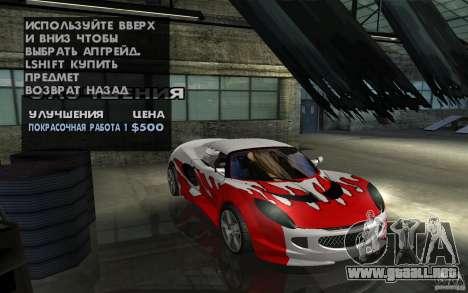 Lotus Elise from NFSMW para GTA San Andreas vista hacia atrás