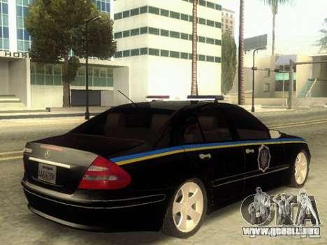 MERCEDES BENZ E500 w211 SE policía Ucrania para GTA San Andreas left