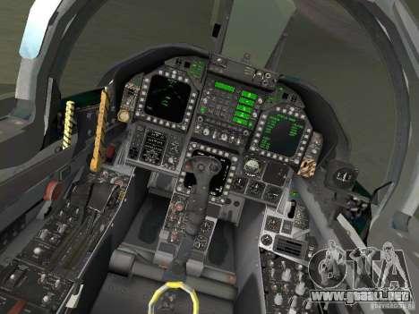 FA-18D Hornet para GTA San Andreas vista hacia atrás