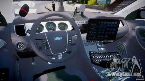 Ford Taurus Police Interceptor 2011 [ELS] para GTA 4 visión correcta