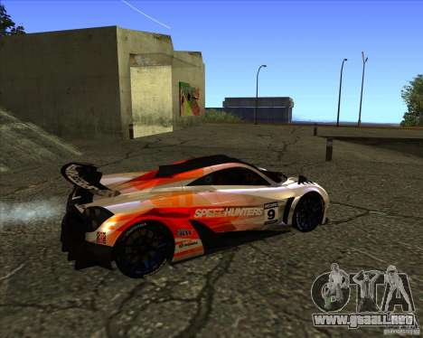 Pagani Huayra SHE para GTA San Andreas vista posterior izquierda