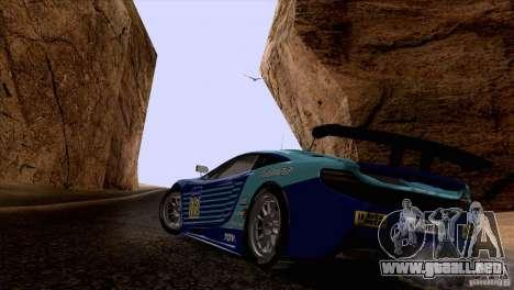 Pintura trabajos McLaren MP4-12 c Speedhunters para GTA San Andreas vista posterior izquierda