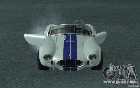 Shelby Cobra 427 para GTA San Andreas vista posterior izquierda