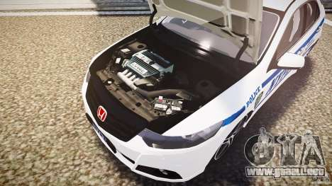Honda Accord Type R NYPD (City Patrol 7605) ELS para GTA 4 vista desde abajo