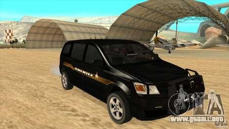 Dodge Caravan Sheriff 2008 para GTA San Andreas vista hacia atrás