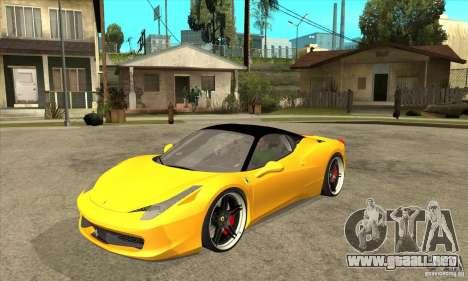 Ferrari 458 Italia custom para GTA San Andreas