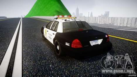 Ford Crown Victoria Raccoon City Police Car para GTA 4 Vista posterior izquierda