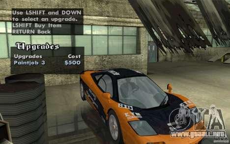 Mclaren F1 road version 1997 (v1.0.0) para vista lateral GTA San Andreas