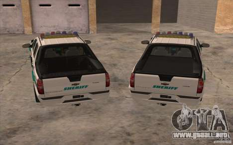 Chevrolet Avalanche Orange County Sheriff para GTA San Andreas vista hacia atrás