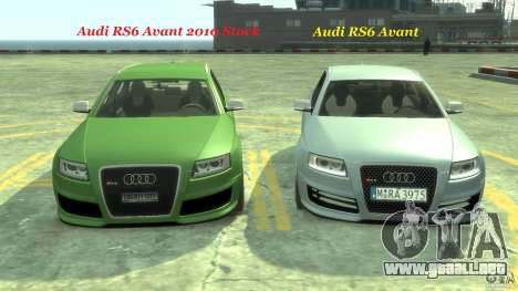 Audi RS6 Avant 2010 Stock para GTA 4 vista desde abajo