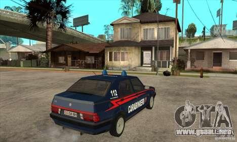 Alfa Romeo 75 Carabinieri para la visión correcta GTA San Andreas