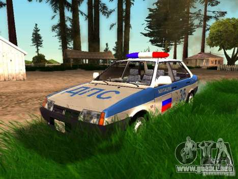 VAZ 2109 policía para vista inferior GTA San Andreas