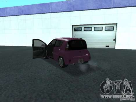 Toyota WiLL Cypha para GTA San Andreas vista hacia atrás