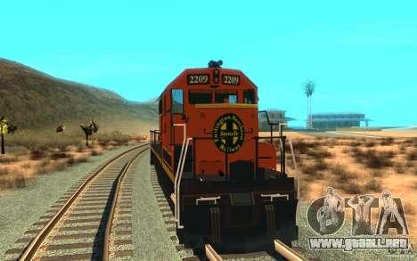 Locomotora SD 40 Unión Pacífico BNSF para la visión correcta GTA San Andreas