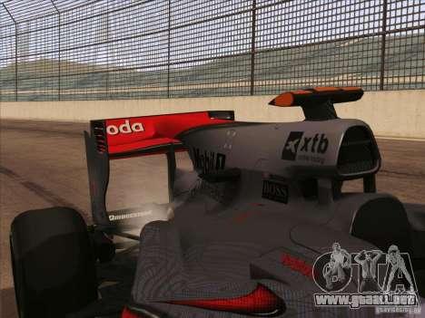 McLaren MP4-25 F1 para GTA San Andreas vista hacia atrás