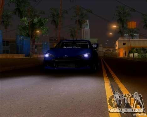 Subaru BRZ Stance para GTA San Andreas vista hacia atrás