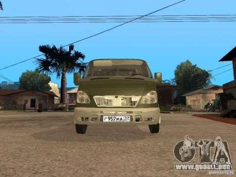 GAZ 3302 v 1.2 (gacela grúa) para la visión correcta GTA San Andreas