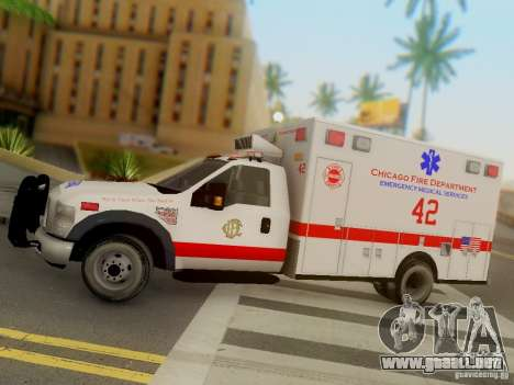 Ford F350 Super Duty Chicago Fire Department EMS para visión interna GTA San Andreas