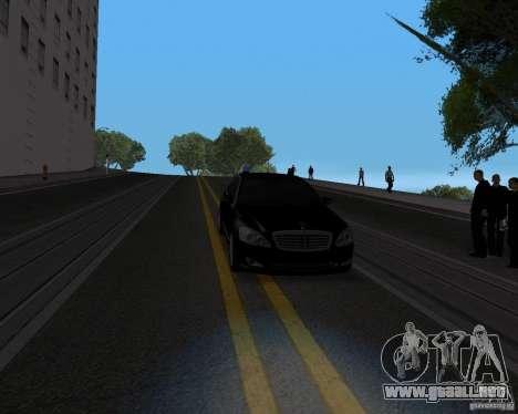 Mercedes Benz S500 w221 SE para GTA San Andreas vista hacia atrás