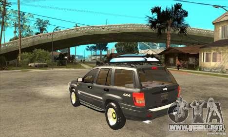 Jeep Grand Cherokee 2005 para GTA San Andreas vista posterior izquierda