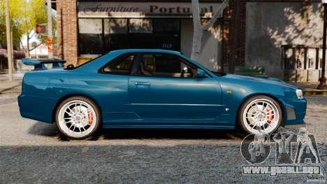 Nissan Skyline GT-R R34 Fast and Furious 4 para GTA 4 left