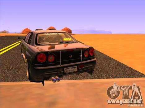 Nissan Skyline R34 Tunable para GTA San Andreas vista posterior izquierda