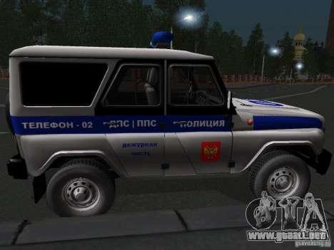 Policía 315195-UAZ Hunter para GTA San Andreas vista posterior izquierda