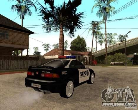 Honda Integra 1996 SA POLICE para la visión correcta GTA San Andreas
