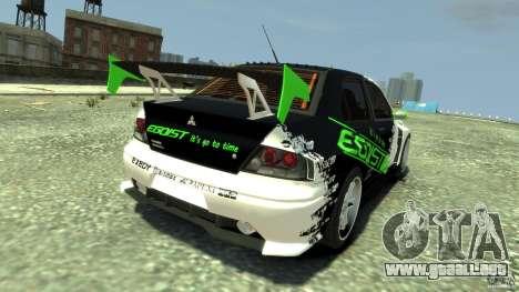 Mitsubishi Lancer Evo IX Tuning para GTA 4 Vista posterior izquierda