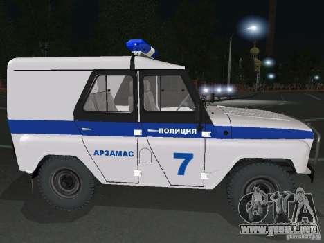 Policía UAZ-31512 para la visión correcta GTA San Andreas