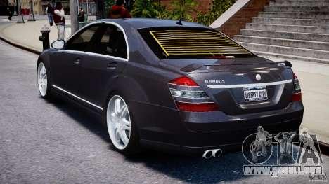 Mercedes-Benz S-Class W221 BRABUS SV12 para GTA 4 Vista posterior izquierda