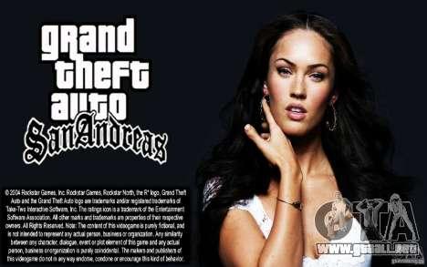 Las pantallas de arranque (Megan Fox) HD para GTA San Andreas
