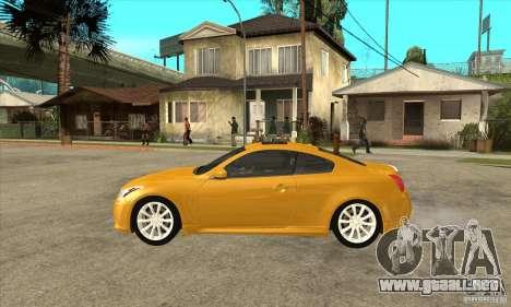 Infiniti G37 Coupe Sport para GTA San Andreas vista posterior izquierda