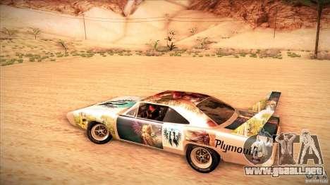Plymouth Roadrunner Superbird Custom para visión interna GTA San Andreas